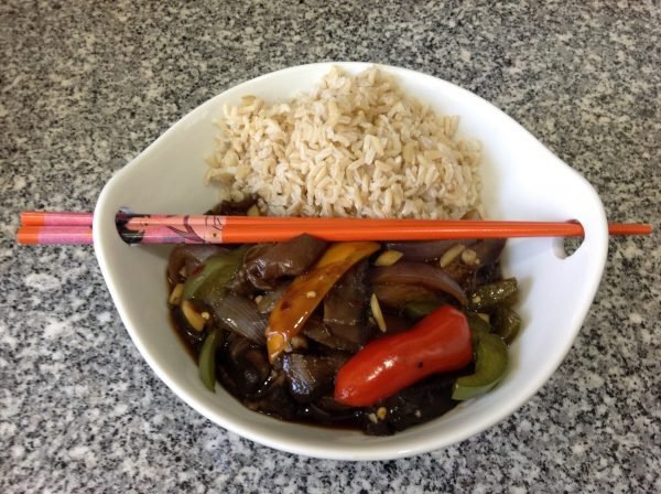 Spicy Szechuan Eggplant with Brown Basmati Rice