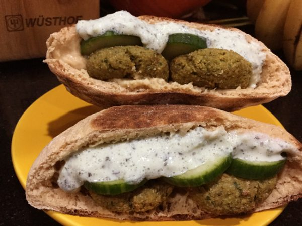 Baked Middle Eastern Falafel in 100% Whole Grain Pita with Tzatziki Sauce