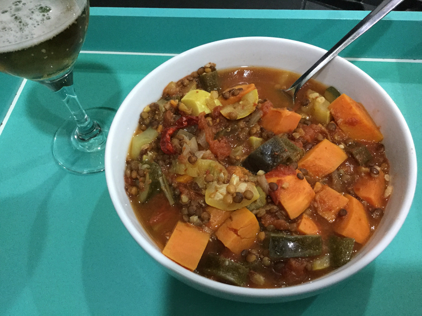 Instant Pot Lentils and Sweet Potato Stew with Indian Spices