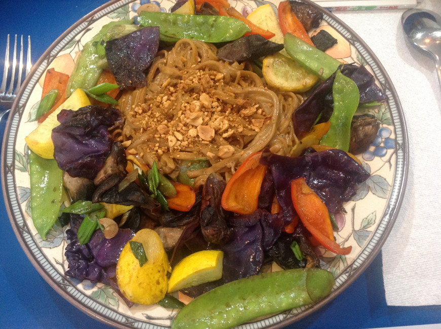 Vegetable Stir-Fry with Rice Noodles and Spicy Peanut Sauce