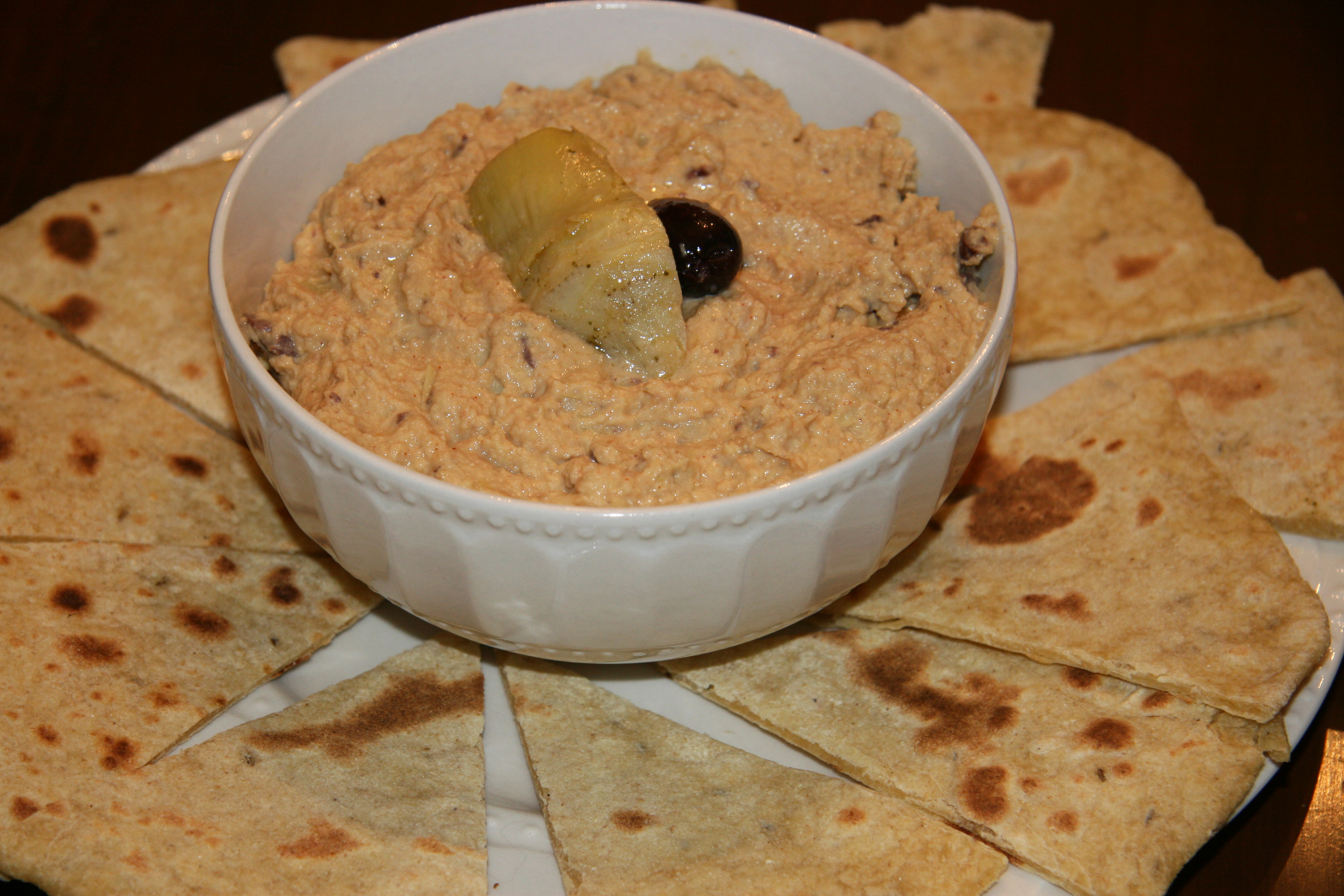 Roasted Red Pepper and Artichoke Hummus