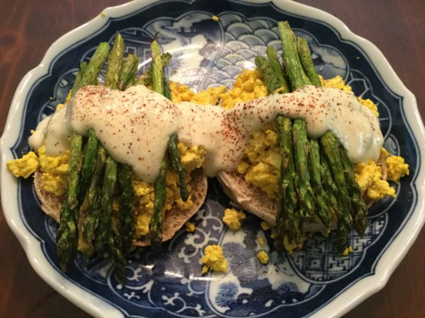 Tofu Eggs Benedict with Roasted Asparagus