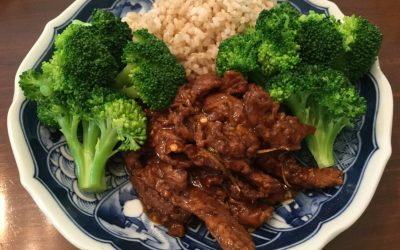 "Spicy Orange Soycurl ""Beef"" & Broccoli"